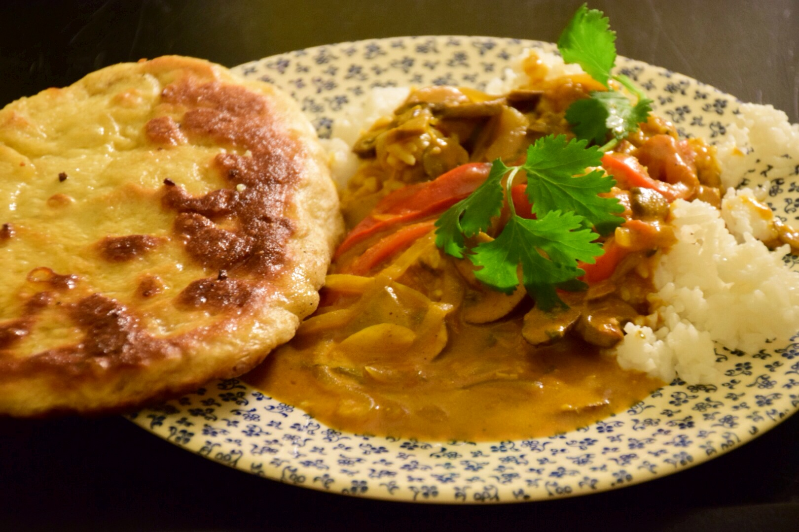 Vegetarian Indian Stew with Basmati Rice and Garlic Naan